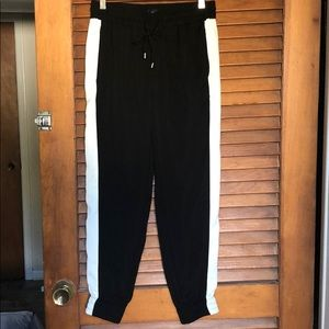 Women's black and white joggers